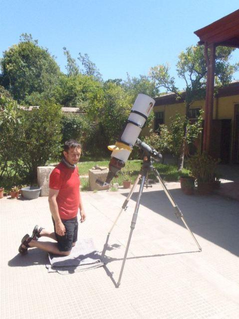 david en un observatorio del sol